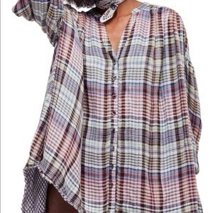 Free People Plaid Oversized Top